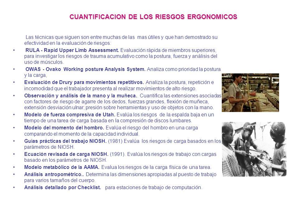 CUANTIFICACION DE LOS RIESGOS ERGONOMICOS