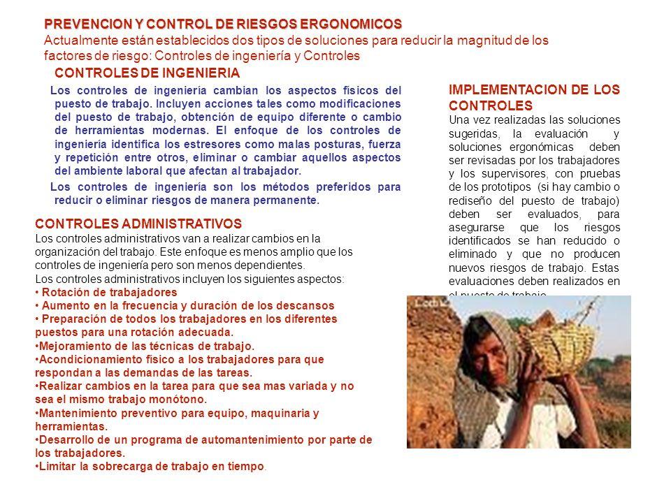 CONTROLES DE INGENIERIA IMPLEMENTACION DE LOS CONTROLES