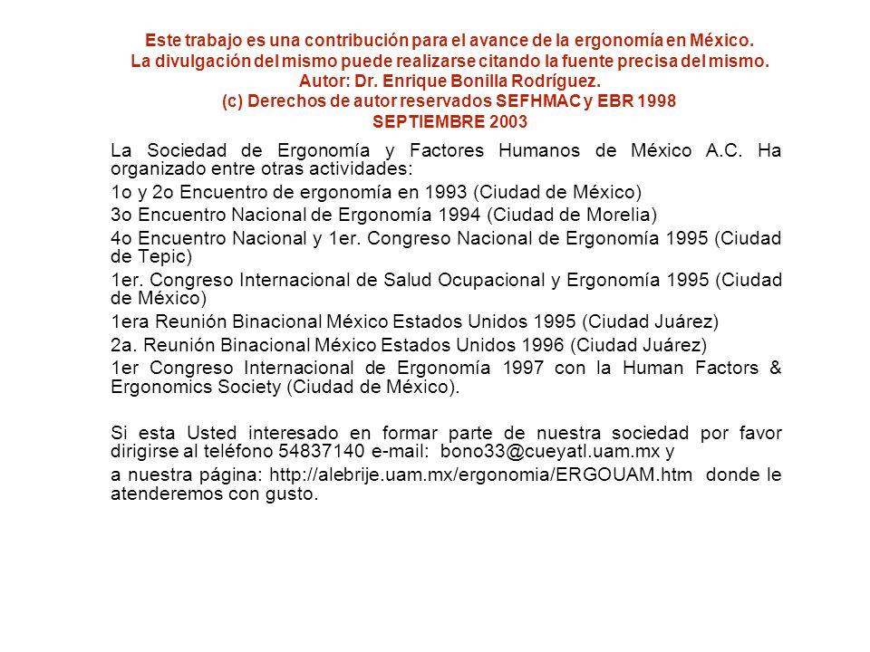 1o y 2o Encuentro de ergonomía en 1993 (Ciudad de México)