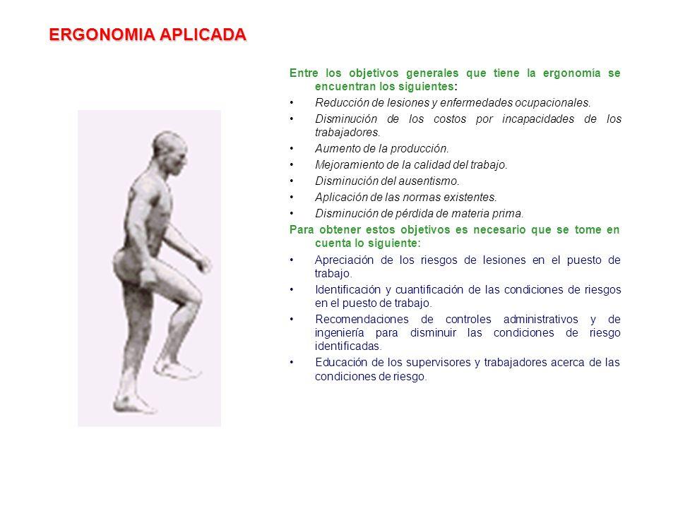 ERGONOMIA APLICADA Entre los objetivos generales que tiene la ergonomía se encuentran los siguientes: