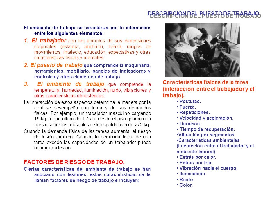 DESCRIPCION DEL PUESTO DE TRABAJO