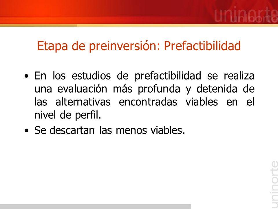 Etapa de preinversión: Prefactibilidad