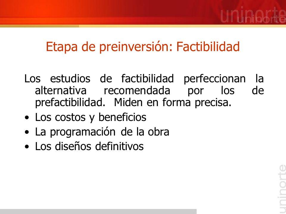 Etapa de preinversión: Factibilidad