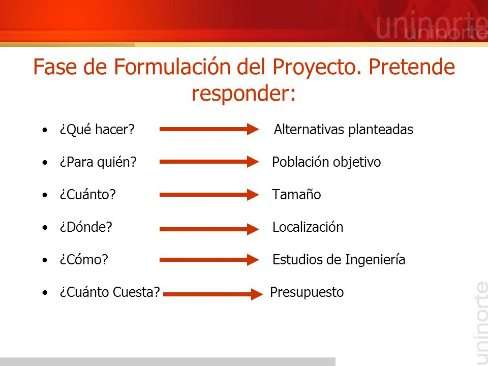 Fase de Formulación del Proyecto. Pretende responder: