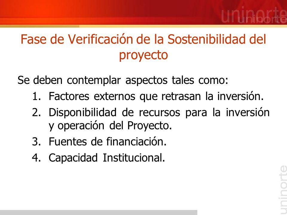 Fase de Verificación de la Sostenibilidad del proyecto