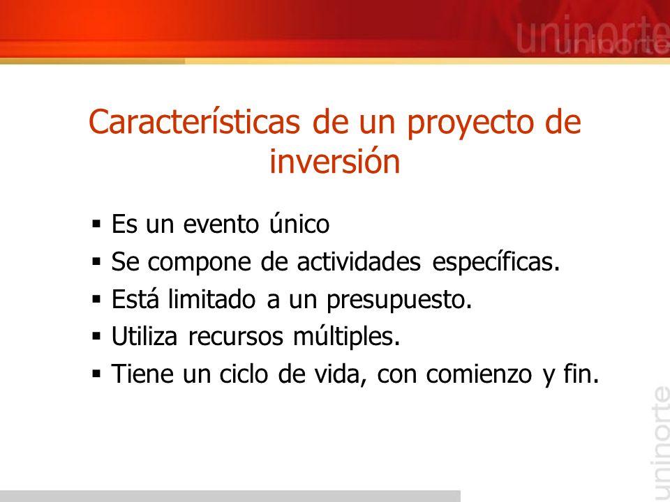 Características de un proyecto de inversión