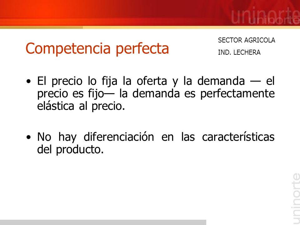 Competencia perfecta SECTOR AGRICOLA. IND. LECHERA.