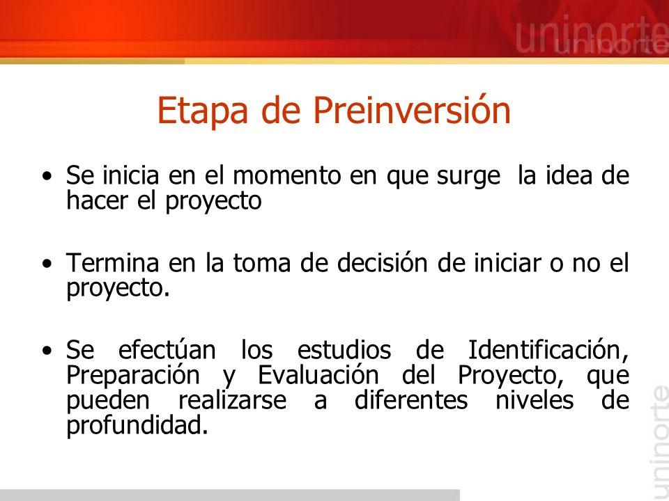 Etapa de Preinversión Se inicia en el momento en que surge la idea de hacer el proyecto.