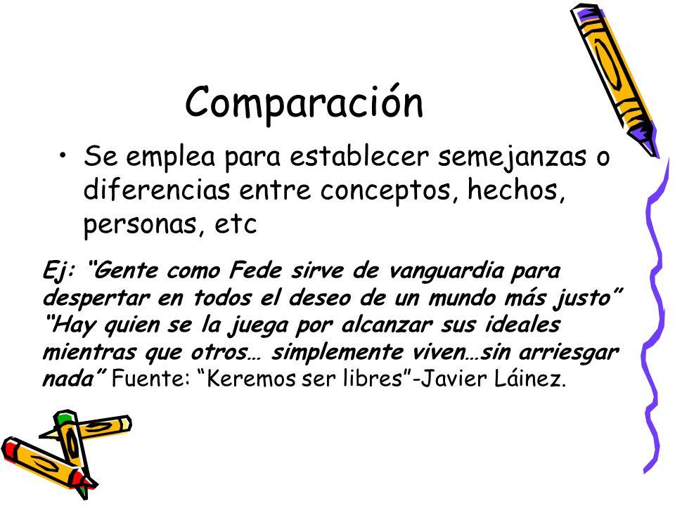 Comparación Se emplea para establecer semejanzas o diferencias entre conceptos, hechos, personas, etc.