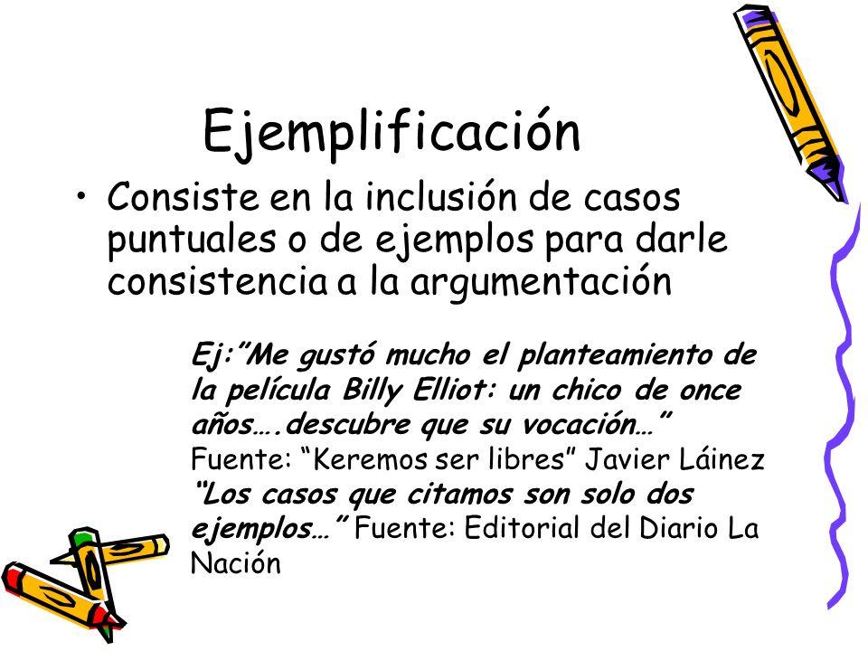 Ejemplificación Consiste en la inclusión de casos puntuales o de ejemplos para darle consistencia a la argumentación.