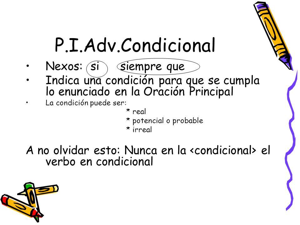 P.I.Adv.Condicional Nexos: si siempre que