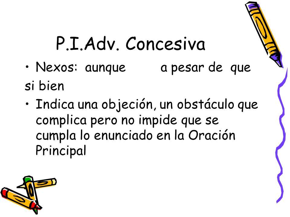 P.I.Adv. Concesiva Nexos: aunque a pesar de que si bien