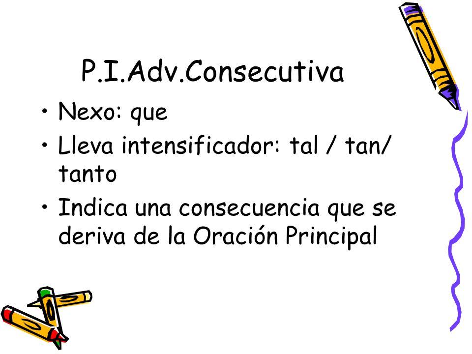 P.I.Adv.Consecutiva Nexo: que Lleva intensificador: tal / tan/ tanto