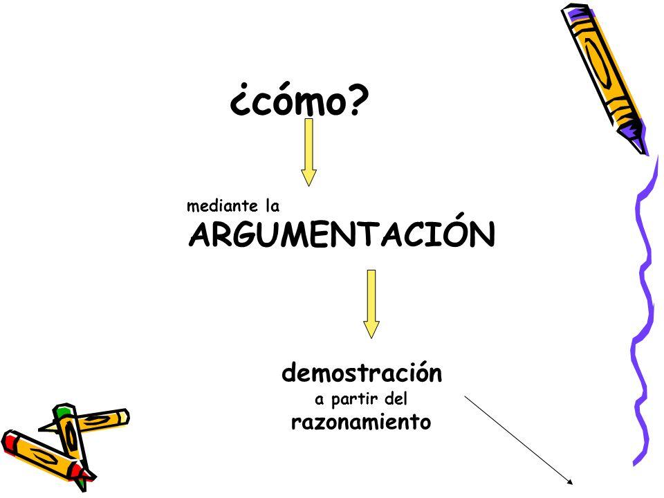 ¿cómo demostración razonamiento mediante la ARGUMENTACIÓN