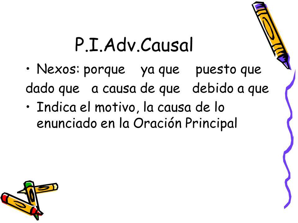 P.I.Adv.Causal Nexos: porque ya que puesto que