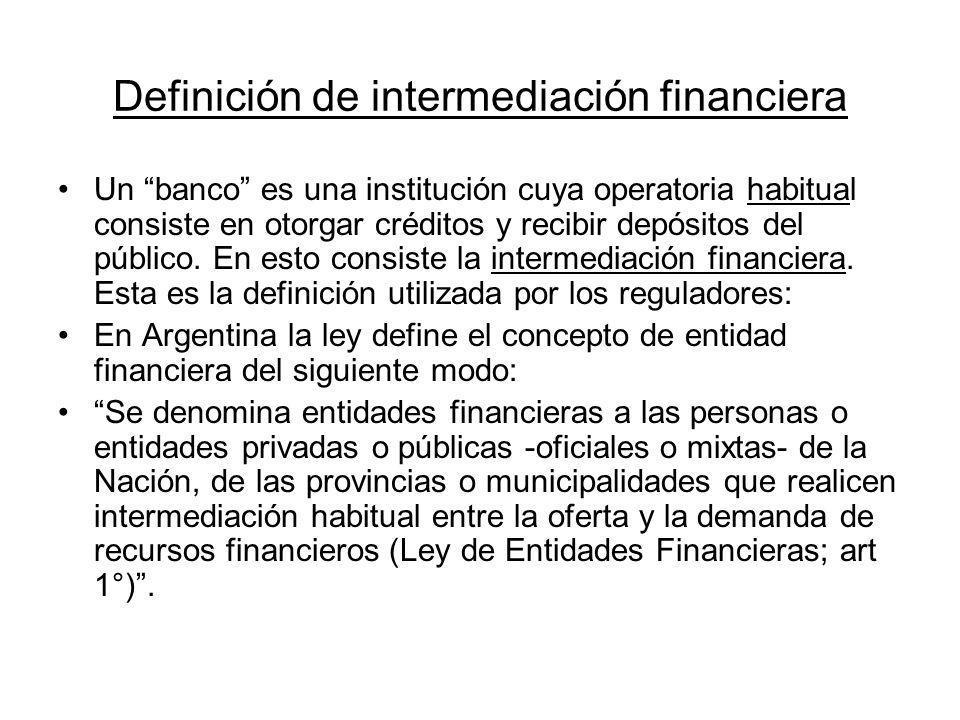 Definición de intermediación financiera