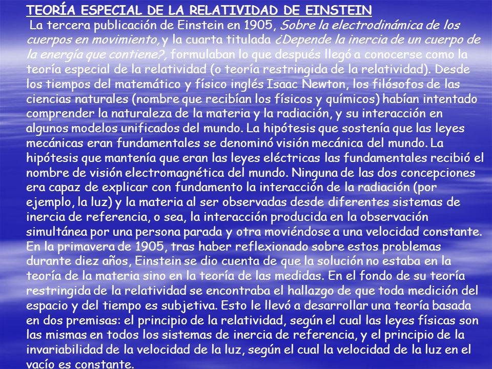 TEORÍA ESPECIAL DE LA RELATIVIDAD DE EINSTEIN