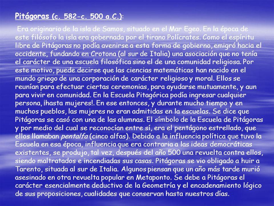 Pitágoras (c. 582-c. 500 a.C.):