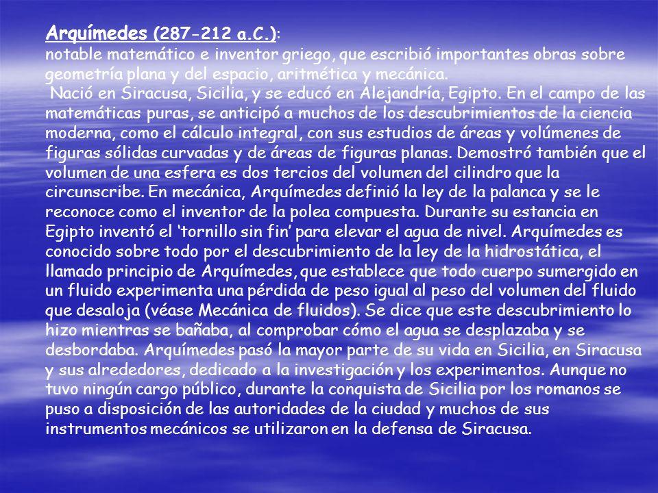 Arquímedes (287-212 a.C.):