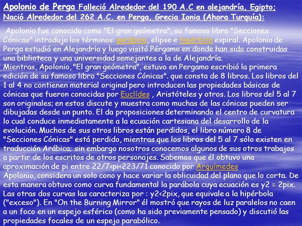 Apolonio de Perga Falleció Alrededor del 190 A