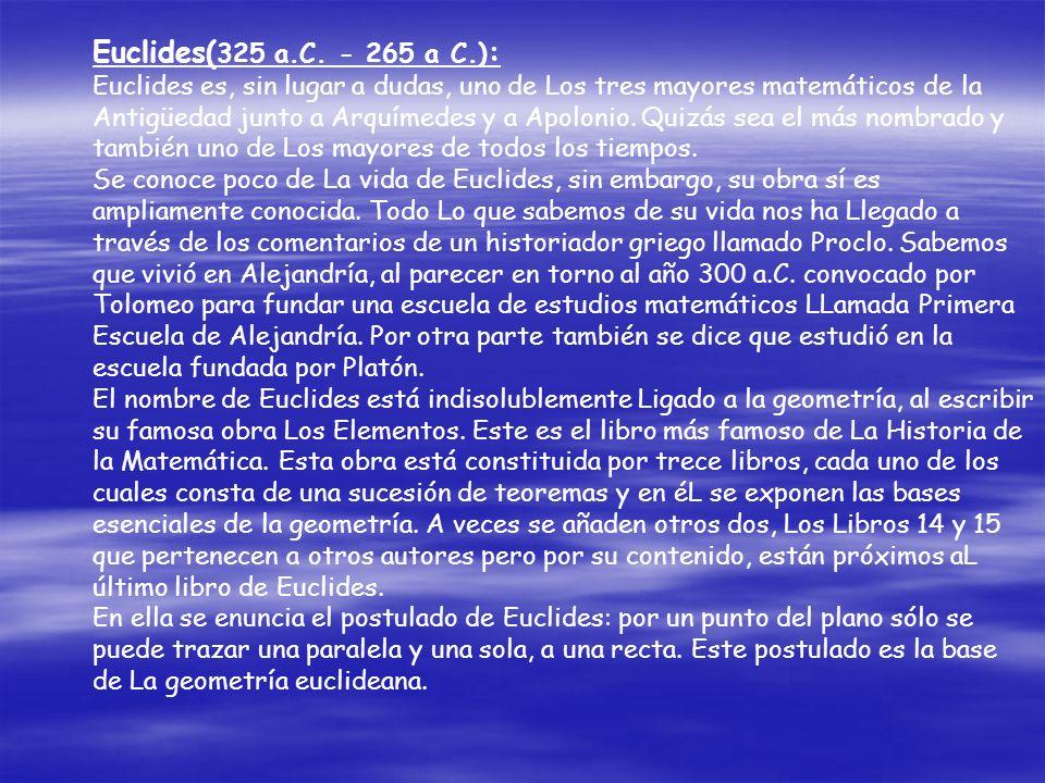 Euclides(325 a.C. - 265 a C.):
