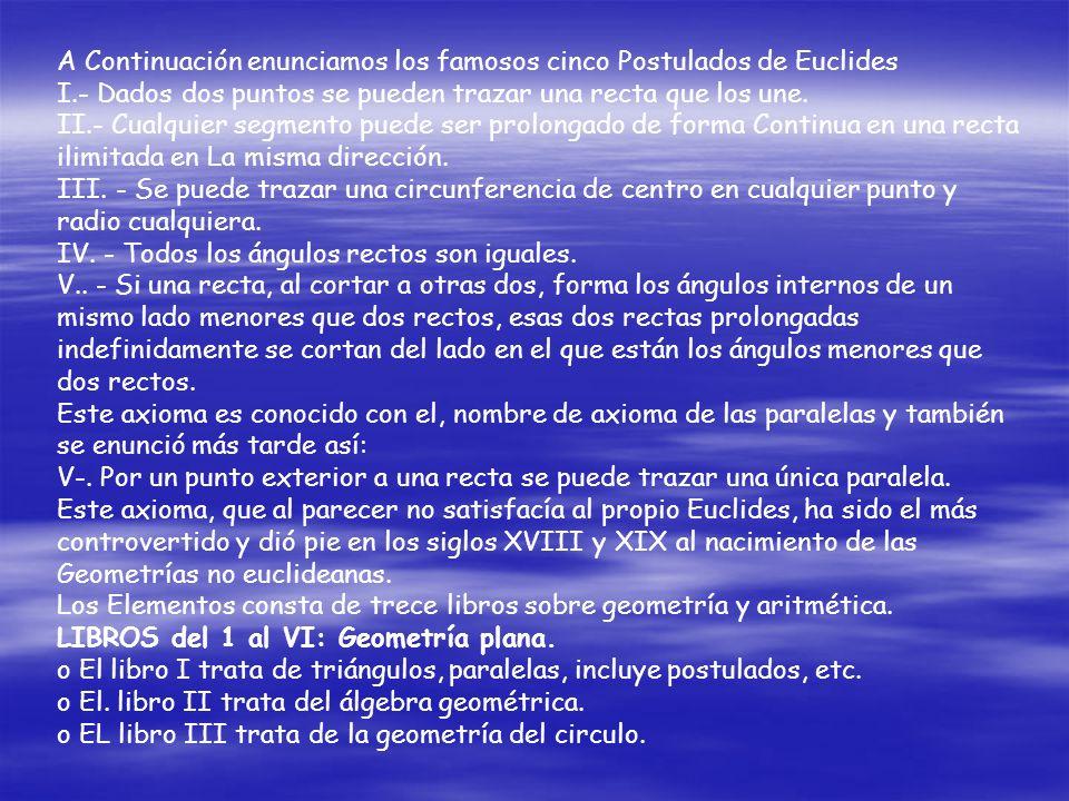 A Continuación enunciamos los famosos cinco Postulados de Euclides