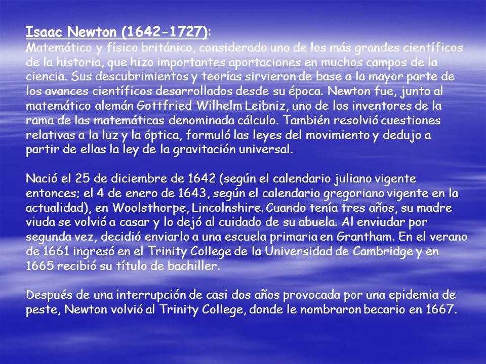 Isaac Newton (1642-1727):