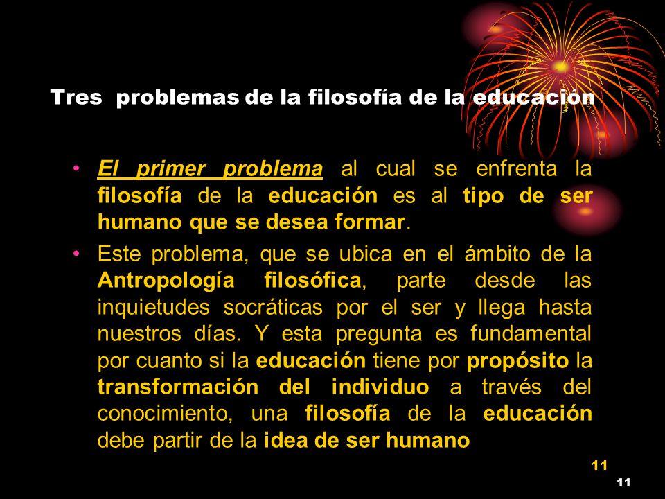 Tres problemas de la filosofía de la educación