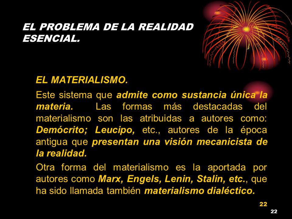 EL PROBLEMA DE LA REALIDAD ESENCIAL.