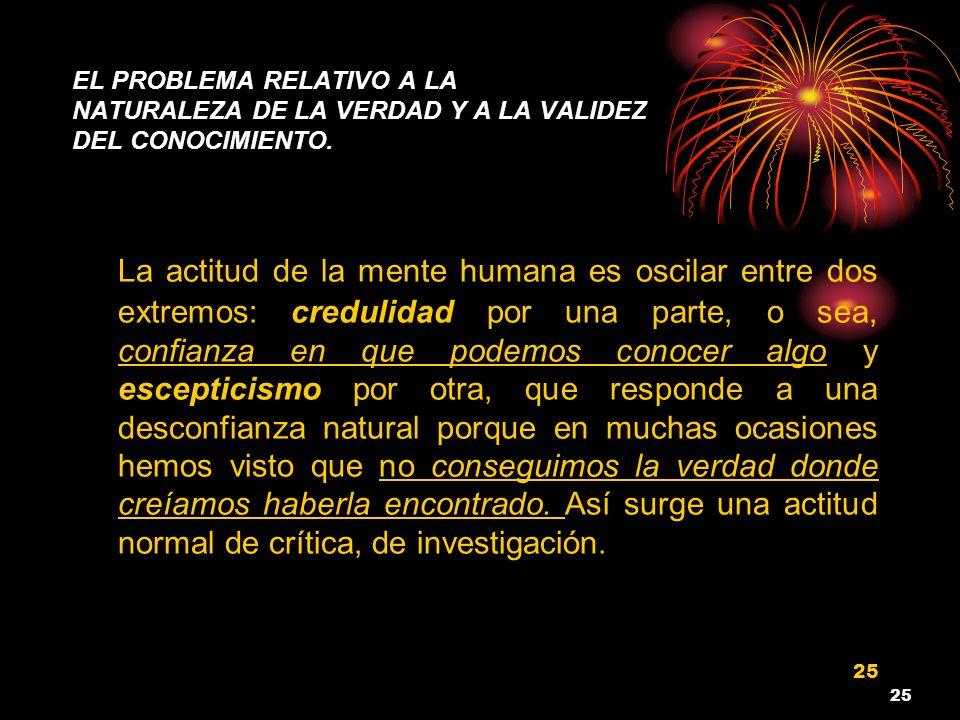 EL PROBLEMA RELATIVO A LA NATURALEZA DE LA VERDAD Y A LA VALIDEZ DEL CONOCIMIENTO.