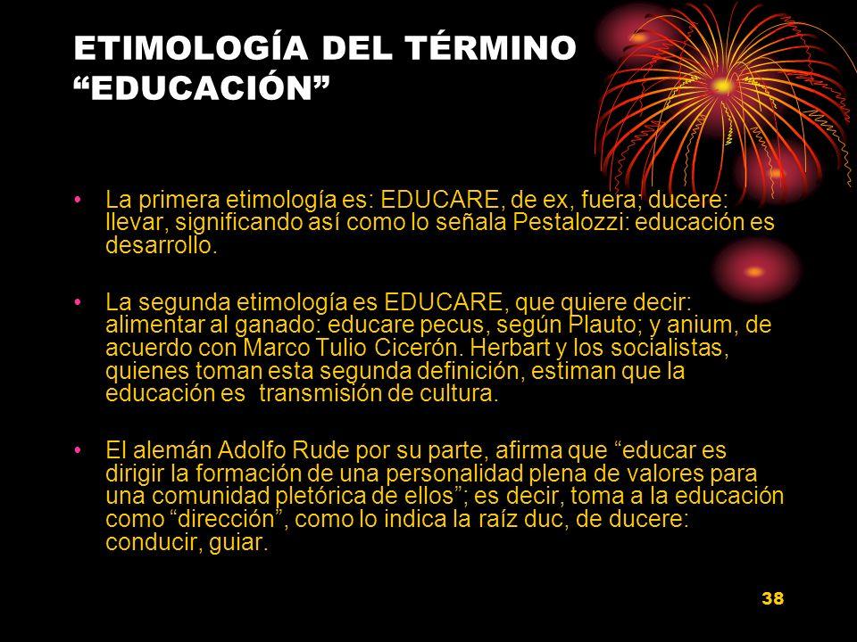 ETIMOLOGÍA DEL TÉRMINO EDUCACIÓN