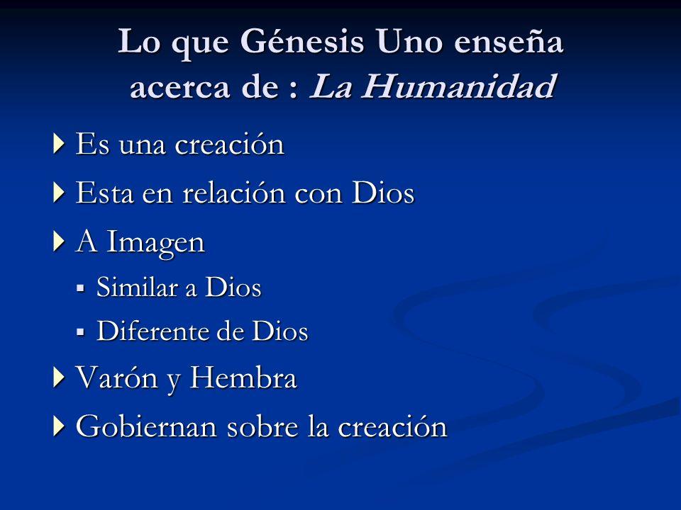 Lo que Génesis Uno enseña acerca de : La Humanidad