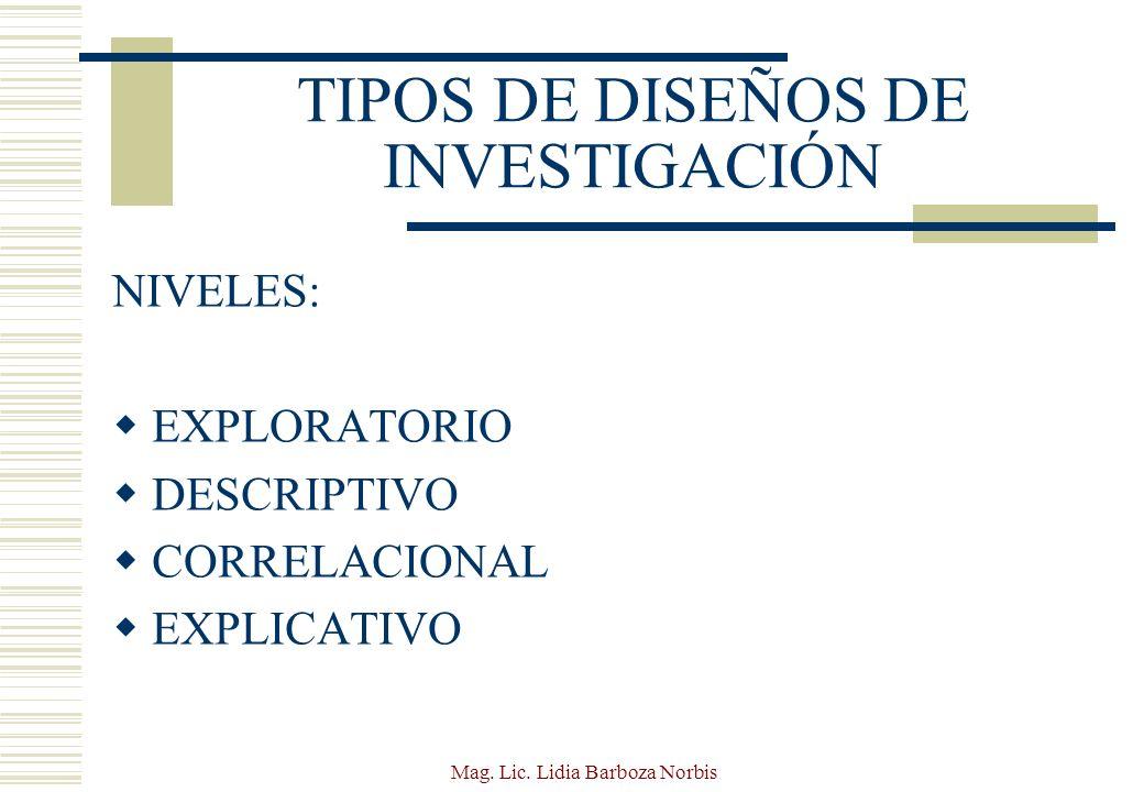 TIPOS DE DISEÑOS DE INVESTIGACIÓN