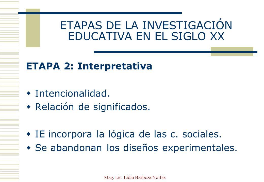 ETAPAS DE LA INVESTIGACIÓN EDUCATIVA EN EL SIGLO XX