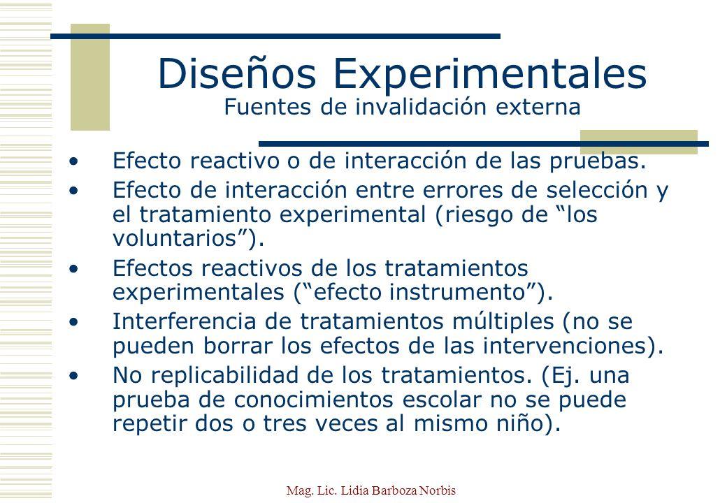 Diseños Experimentales Fuentes de invalidación externa
