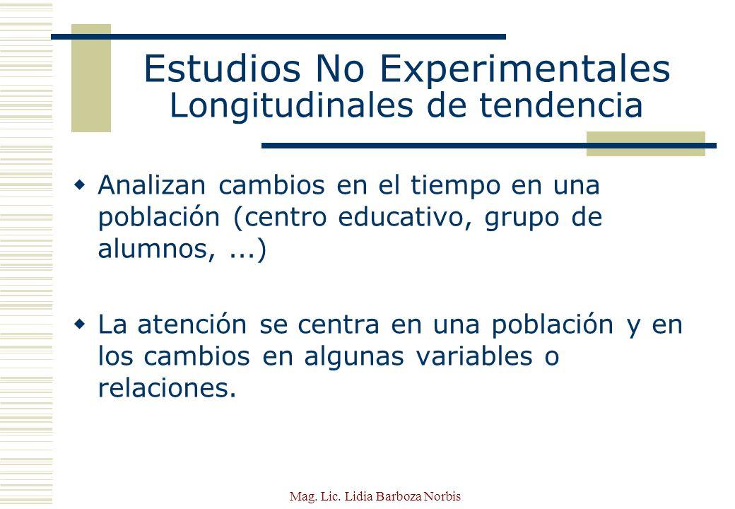 Estudios No Experimentales Longitudinales de tendencia