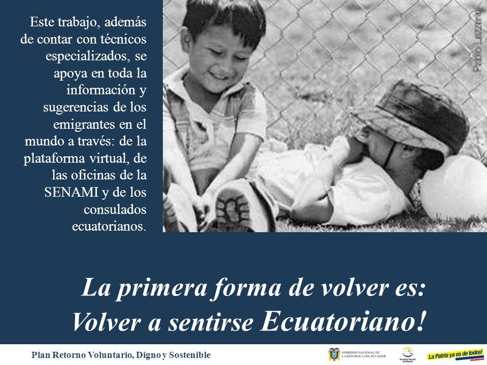 La primera forma de volver es: Volver a sentirse Ecuatoriano!