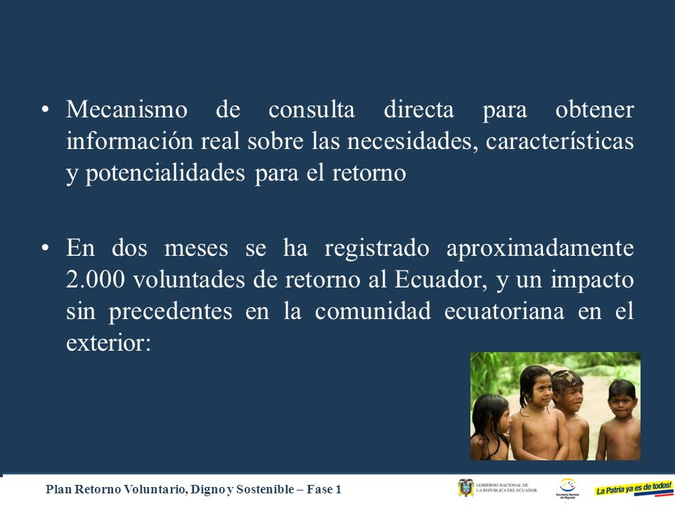 Plan Retorno Voluntario, Digno y Sostenible – Fase 1