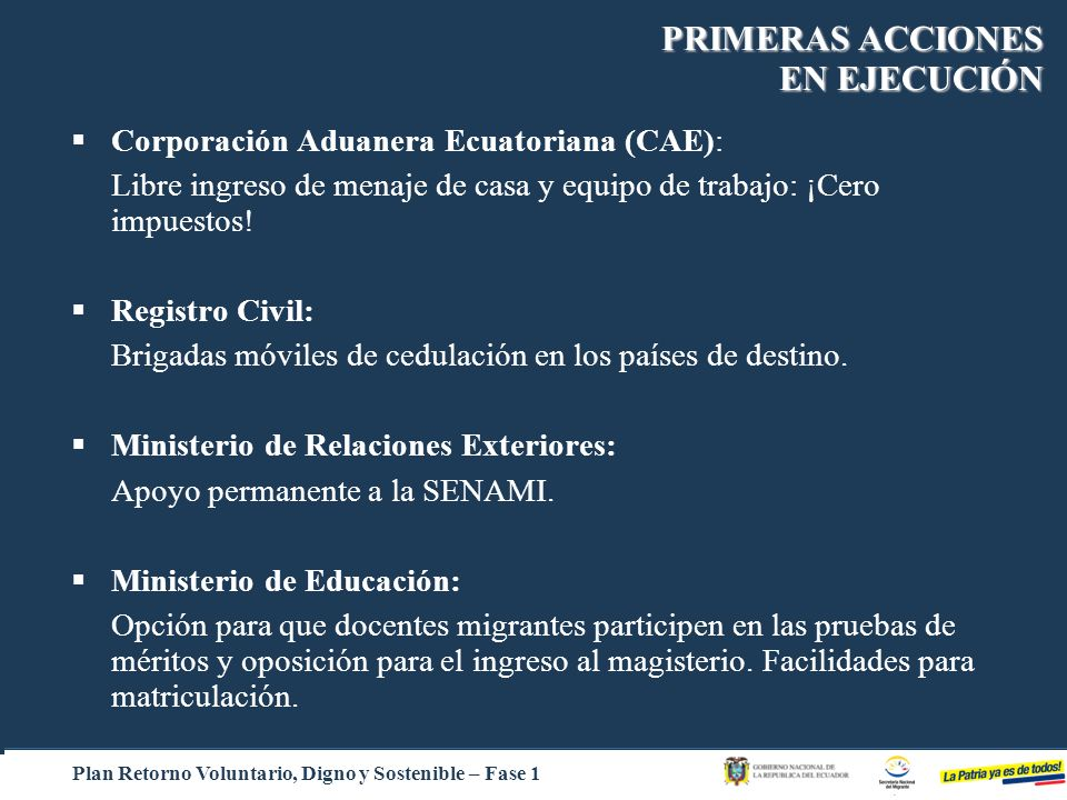 PRIMERAS ACCIONES EN EJECUCIÓN