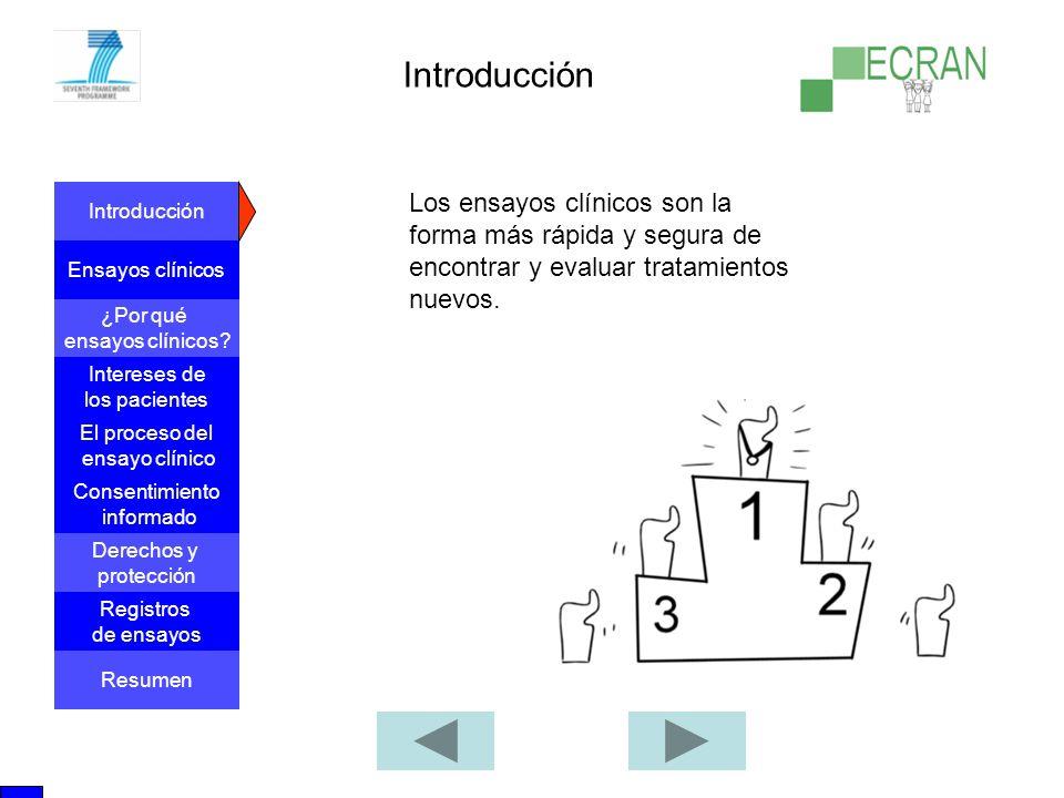 Introducción Los ensayos clínicos son la forma más rápida y segura de encontrar y evaluar tratamientos nuevos.