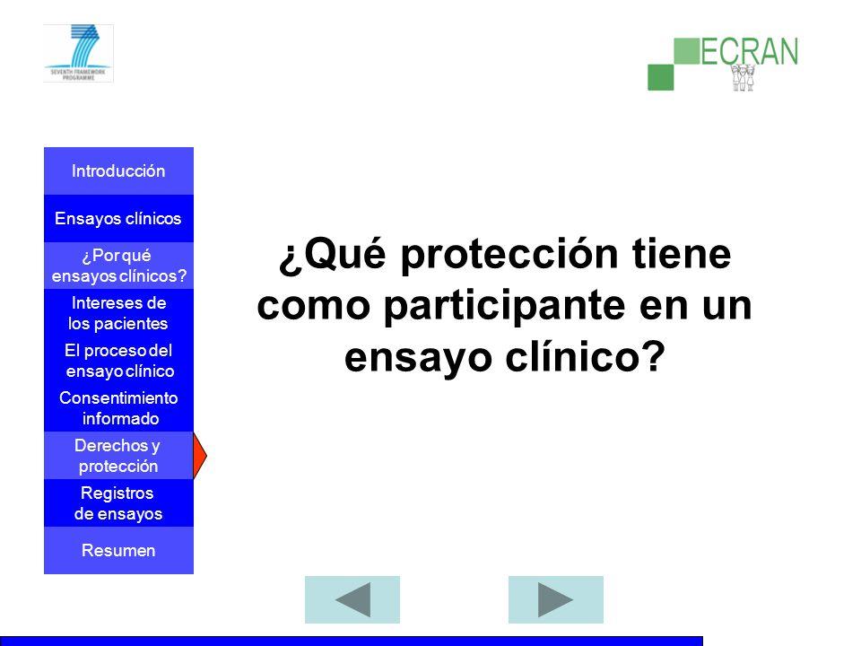 ¿Qué protección tiene como participante en un ensayo clínico