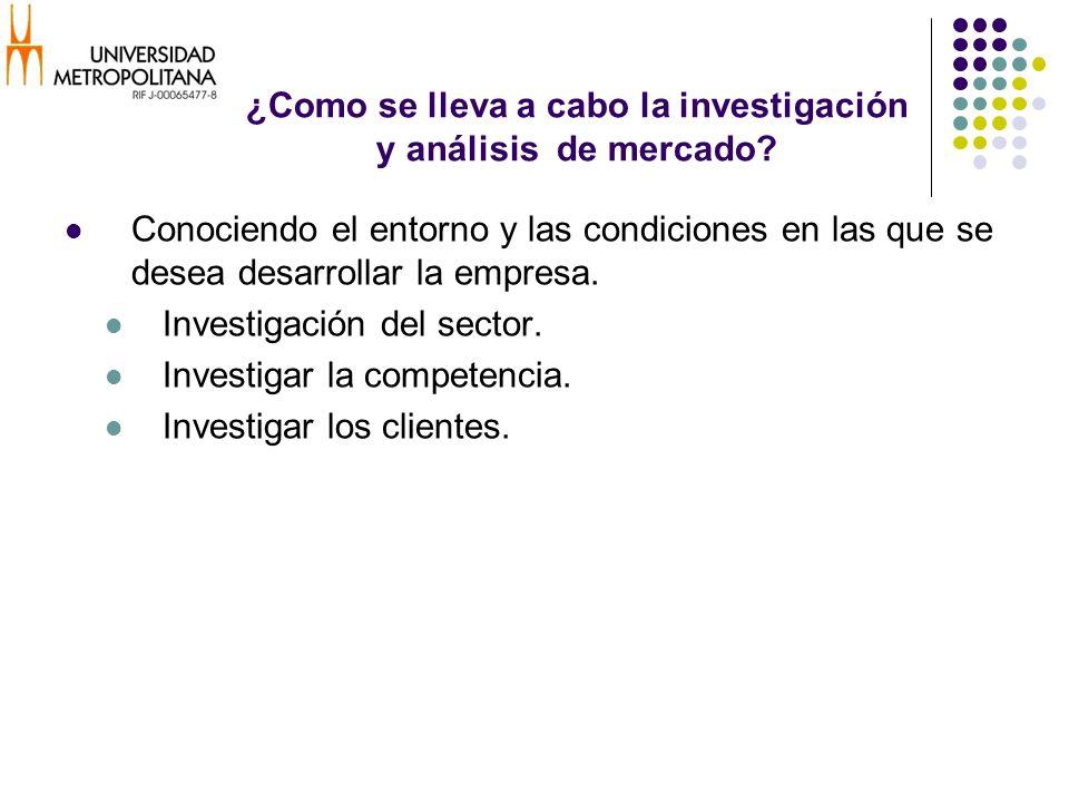 ¿Como se lleva a cabo la investigación y análisis de mercado