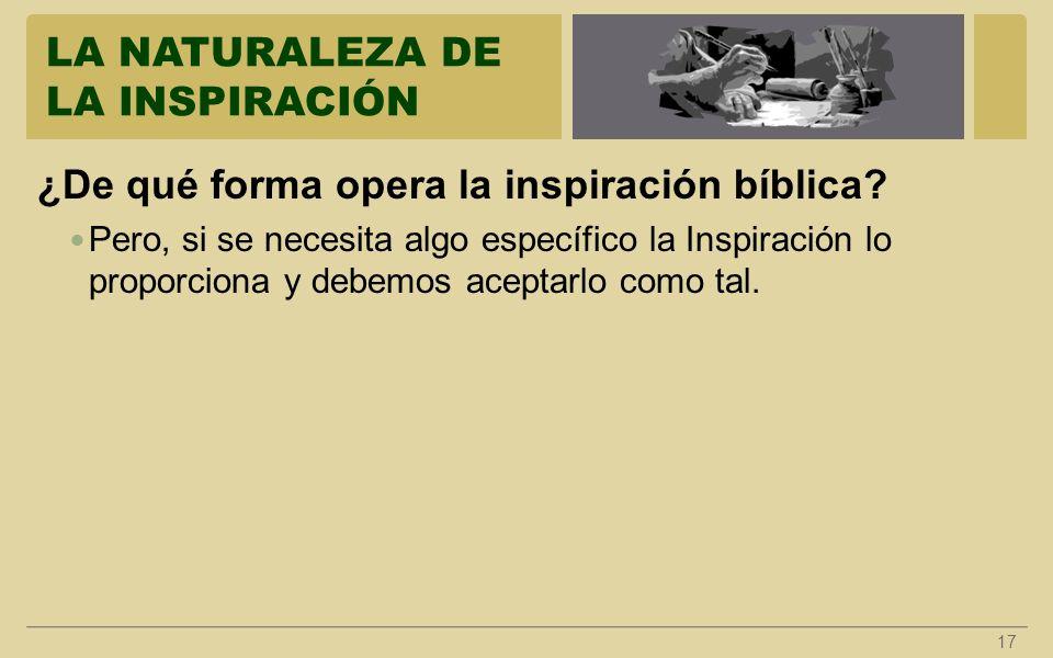 LA NATURALEZA DE LA INSPIRACIÓN