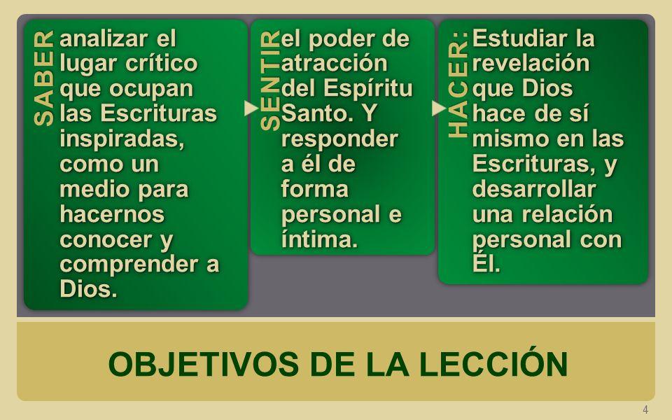 OBJETIVOS DE LA LECCIÓN