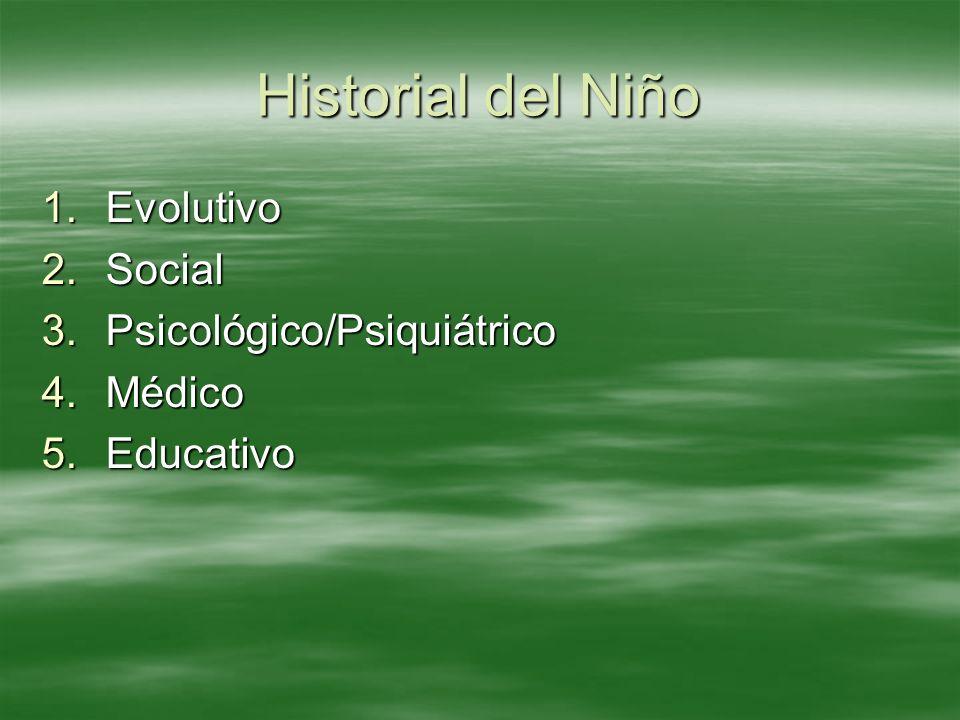 Historial del Niño Evolutivo Social Psicológico/Psiquiátrico Médico