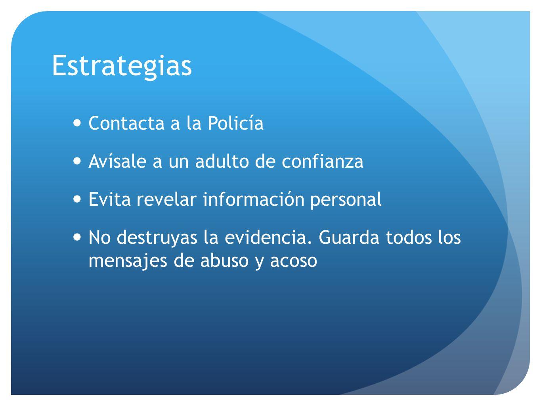 Estrategias Contacta a la Policía Avísale a un adulto de confianza