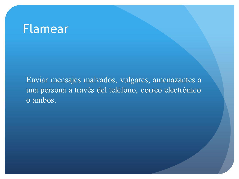 Flamear Enviar mensajes malvados, vulgares, amenazantes a una persona a través del teléfono, correo electrónico o ambos.