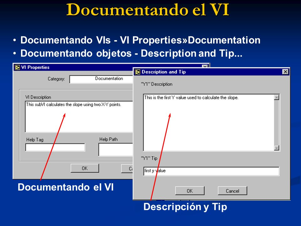 Documentando el VI Documentando VIs - VI Properties»Documentation