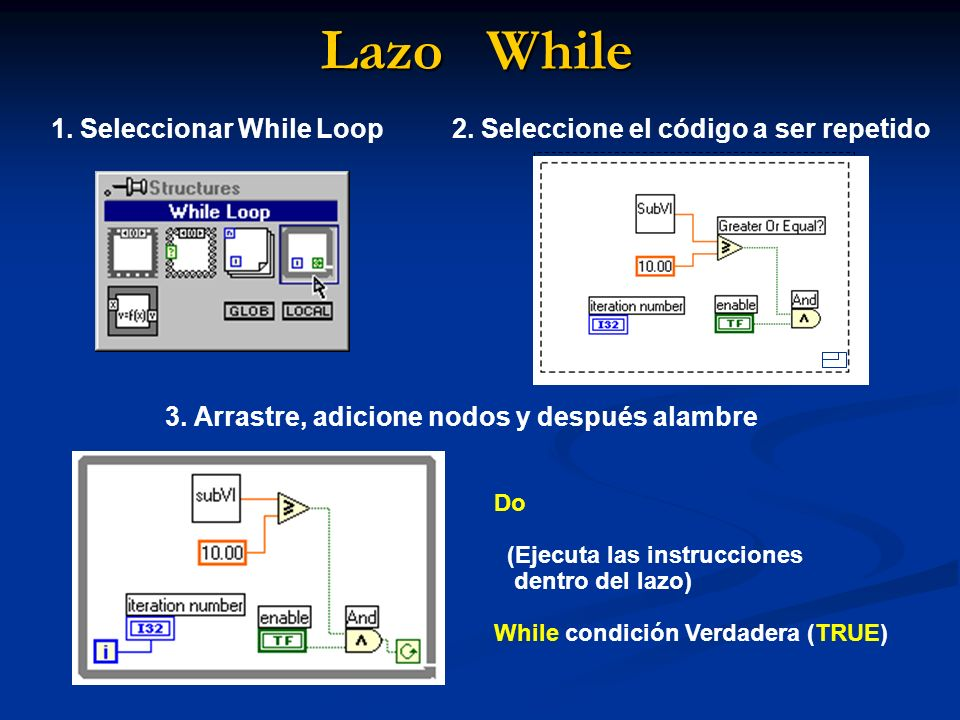Lazo While 1. Seleccionar While Loop