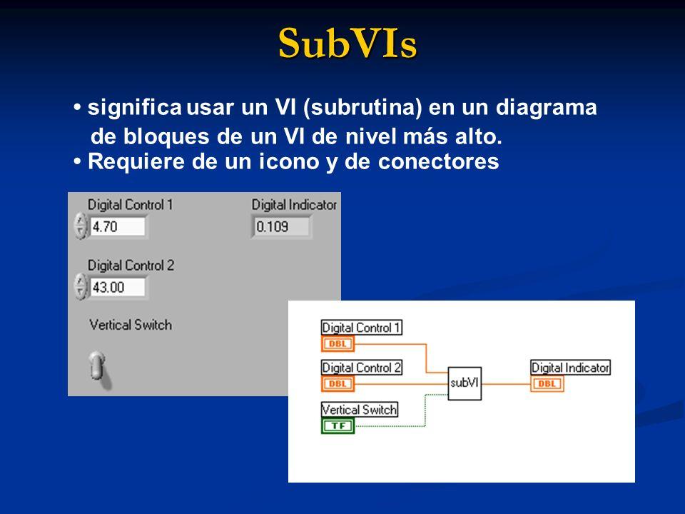 SubVIs • significa usar un VI (subrutina) en un diagrama de bloques de un VI de nivel más alto. • Requiere de un icono y de conectores.
